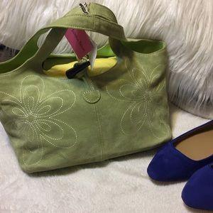 NWT Donna Dixon Bright Green Suede Bucket Handbag
